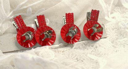 brocante kaarshouder op clip voor kerstboom