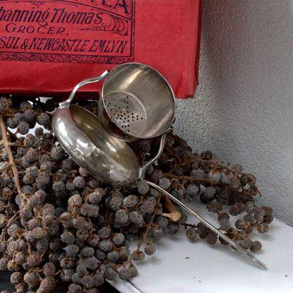 vintage verzilverd theezeefje met lekbakje