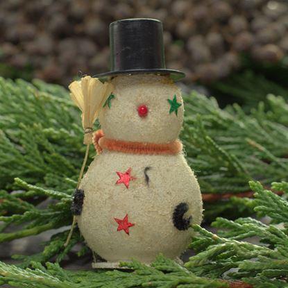 vintage sneeuwpop kerstboomhanger