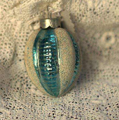 vintage  turquoise/roomwit gestreepte kerstboomhanger