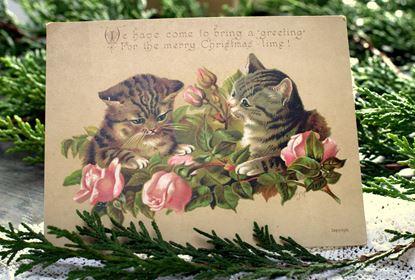 victoriaanse kerstkaart met poesjes