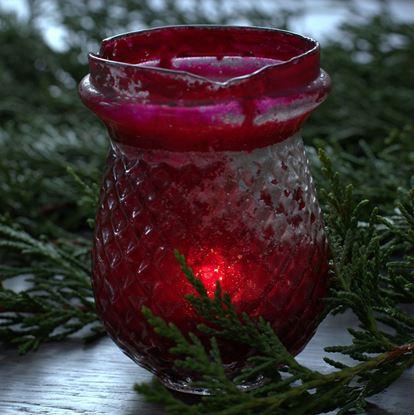 victoriaans rood glazen waxinelichthouder