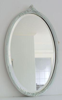 brocante spiegel met groen/witte lijst