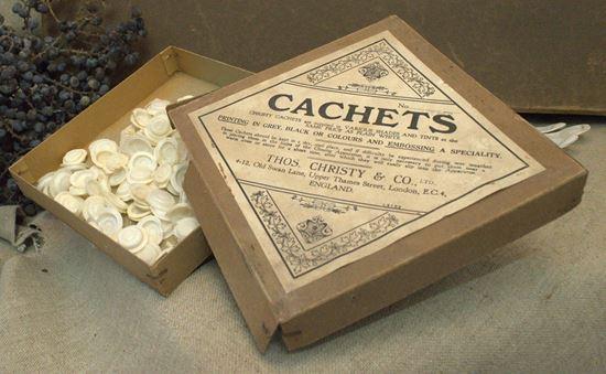 vintage verpakkingsdoosje voor cachets van medicijnen