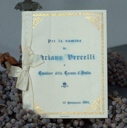 vintage, Italiaans/Franse menukaart bedrukt met blauwe letters uit 1907