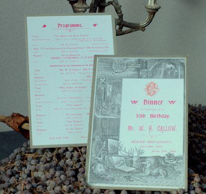 vintage menukaart  voor diner 50 jarige verjaardag uit 1899