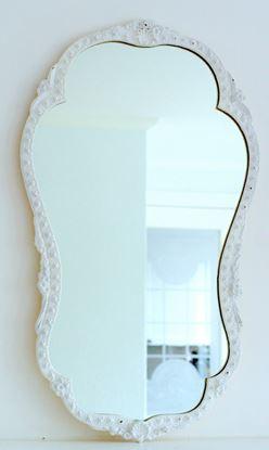 brocante witte  sierlijke spiegel