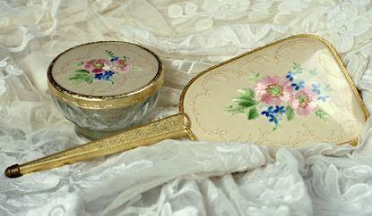 vintage kaptafelset handspiegel en dekselpotje