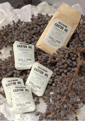 vintage ongebruikte etiketten castor oil