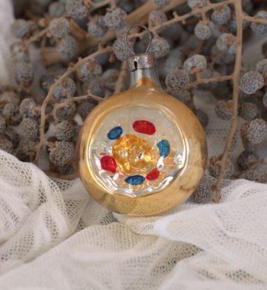 brocante  goiuden deuk-kerstbal met rood en blauw