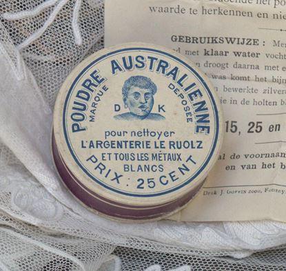 vintage doosje zilverpoets poeder