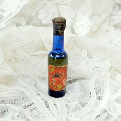 brocante blauw glazen flesje castoroil