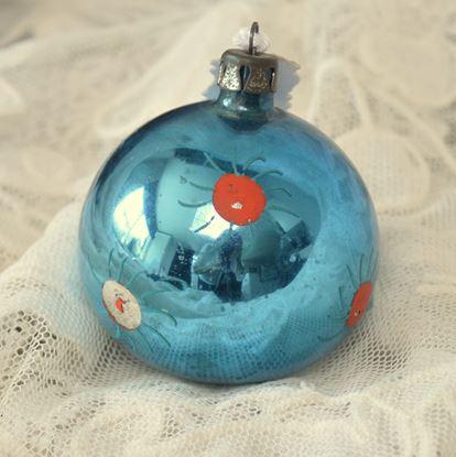 brocante blauwe kerstbal